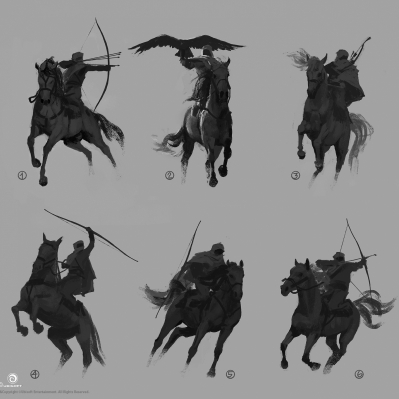 martin-deschambault-aco-bayek-iconic-pose-horse-sketches-mdeschambault